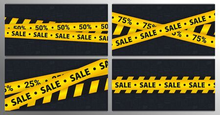 Set of Sale banners with yellow Caution lines. Hand draw doodle icons on the background