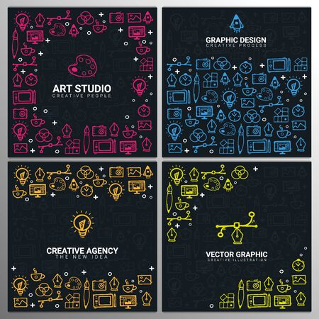 Art Studio, Graphic Design, Creative Agency and Vector Graphic. Set of Backgrounds with doodle design elements.
