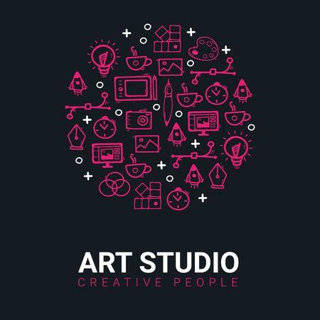 Art Studio. Background with doodle design elements. Иллюстрация