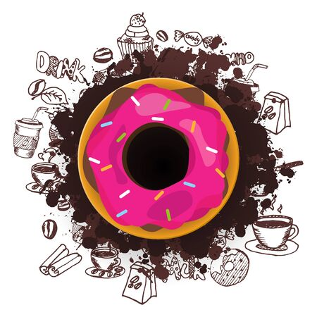 Dark food card. Donuts with pink and chocolate glaze. Hand draw doodle background Ilustrace