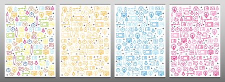 Set of Graphic Design Backgrounds with hand draw doodle elements.