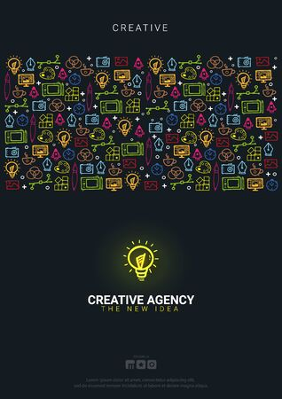 Creative Agency. Background with doodle design elements.