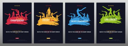 Cricket Championship banner or poster, design with players and bats. Vector illustration Ilustrace