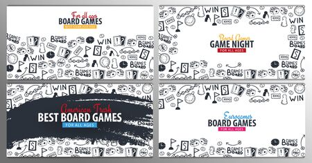 Set of Board Games banners. For all Ages. Hand draw doodle background. Vector illustration