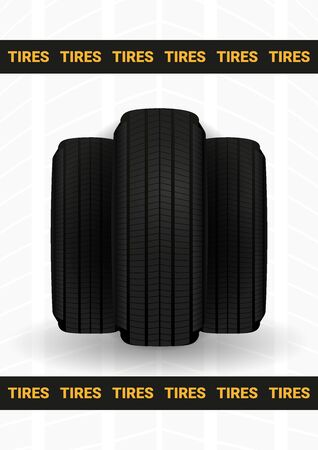 Tires car advertisement poster. Black rubber tire on the background with wheel tire tracks