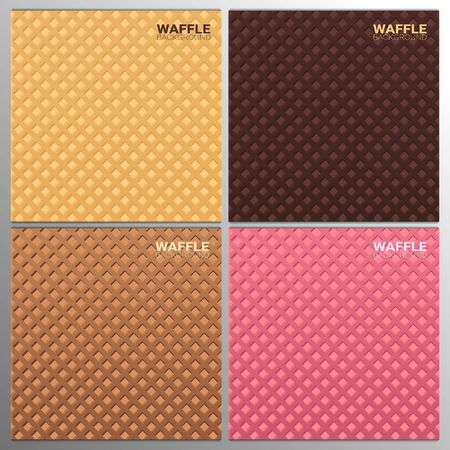 Set of Colorful Wafer texture sweet food backgrounds. Ice cream waffle.