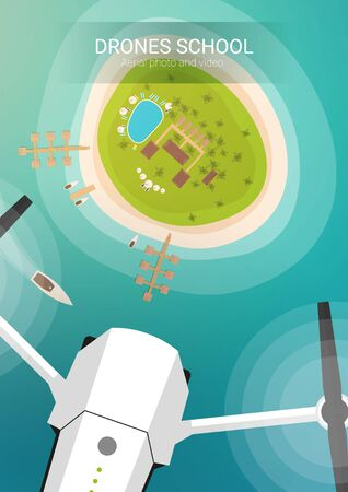 Drone flying over island and sea beach. Aerial Drone taking photography and video. Illustration
