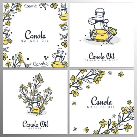 Set of Rapeseed and canola oil banners. Nature Organic product.