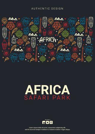 Bandera de África. Parque Safari. Ilustración colorida con fondo de doodle de dibujar a mano. Ilustración de vector