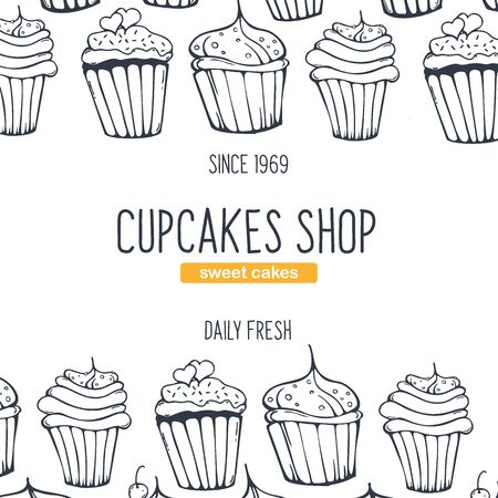Cupcakes and Cakes banner with sketches hand drawing background.  イラスト・ベクター素材