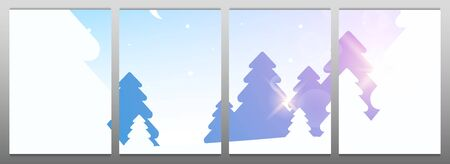 Template for Modular Picture. Winter Forest Woodland Landscape with Pine and sunshine. 向量圖像