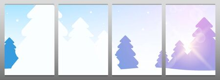 Template for Modular Picture. Winter Forest Woodland Landscape with Pine and sunshine.  イラスト・ベクター素材