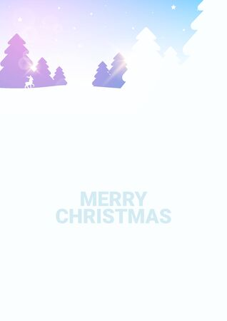 Merry Christmas background. Winter Forest Woodland Landscape with Pine and sunshine