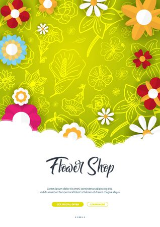 Flat flowers on a sketches background. Floral banner. Vector illustration Ilustrace
