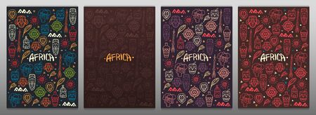 Set of Hand draw doodles banners of Africa word. Colorful illustration. Background with lots of objects