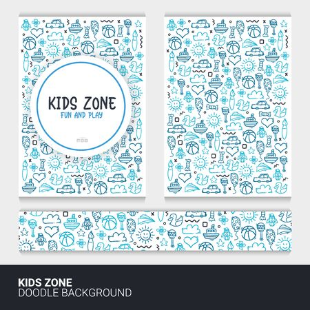 Flyer or brochure template with kids doodle background