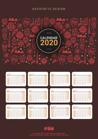 Calendar template for 2020 year with African motive. Doodle elements Ilustrace