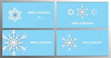 Set of Merry Christmas backgrounds with snowflakes on the blue background.