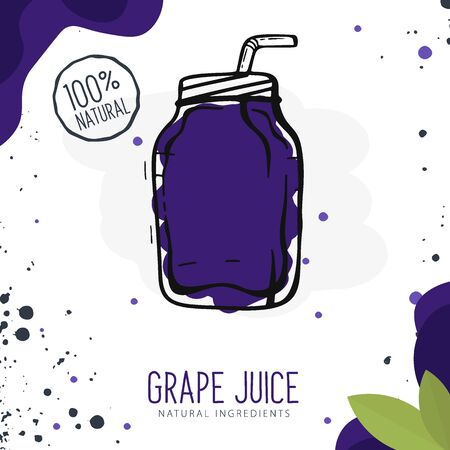Grape Juice in a glass. Banner smoothies, lemonade, fresh, detox in sketch style Stock Illustratie