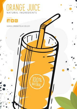 Orange Juice in a glass. Banner smoothies, lemonade, fresh, detox in sketch style Stock Illustratie