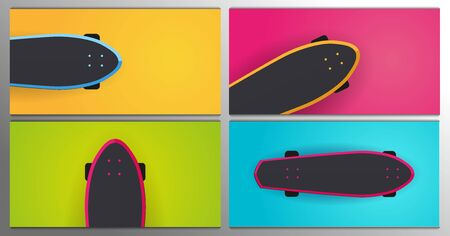 Set of Modern Skateboarding illustrations. Colorful Skate Board banner.