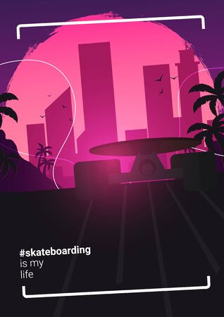 Modern Skateboarding illustration. Colorful Skate Board banner Çizim