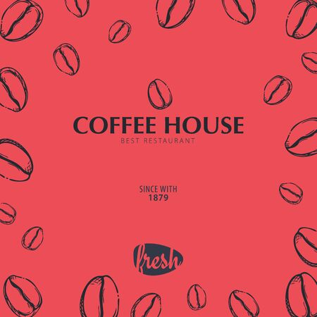 Coffee Sketch banner with coffee beans and leaves for poster or another template design. Иллюстрация