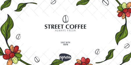 Colorful Coffee Sketch banner with coffee beans and leaves for poster or another template design. Иллюстрация