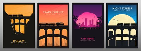 Set of Travel by Train banners. Railway bridge with outdoor landscape. Travel Concept