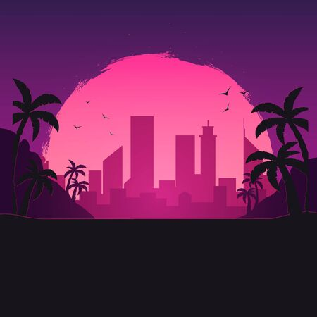 Beautiful Urban City Landscape with sunset sky Иллюстрация