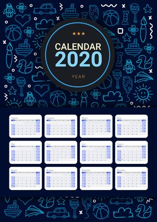 Kids Calendar 2020 with hand draw doodle background.