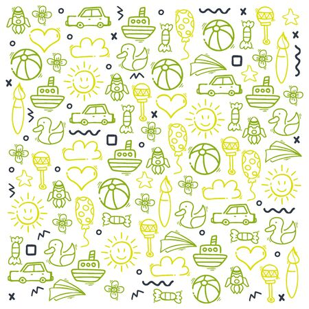 Hand draw Kids doodle background. Objects from a childs life. 向量圖像