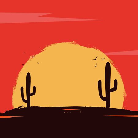 Wild West landscape with mountains and cactus. Sunset at the Texas. Vector illustration. Иллюстрация