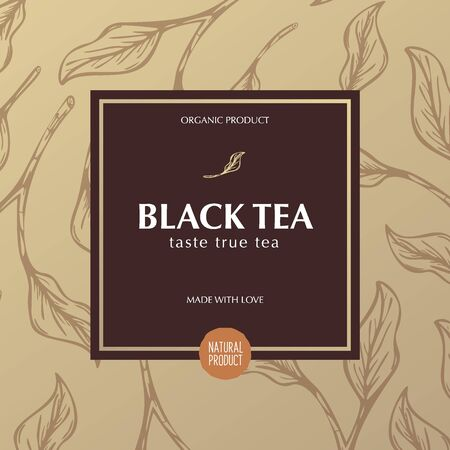 Tea banner with leaves on the background. 스톡 콘텐츠 - 131957179