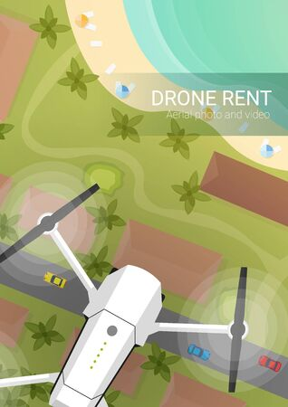 Drone flying over city and sea or beach. Aerial Drone taking photography and video