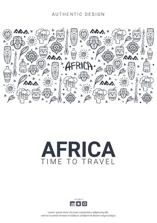 Africa banner. Safari Park. Colorful illustration with hand draw doodle Background 向量圖像