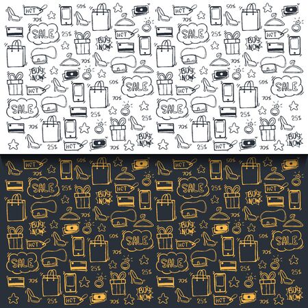 Set of Sale backgrounds with hand draw doodle icons