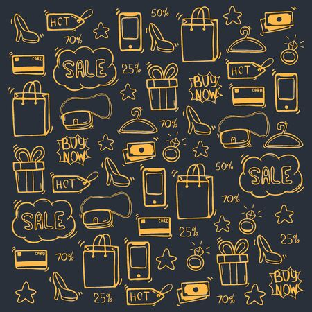 Sale background with hand draw doodle icons