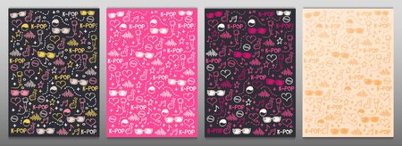 Set of K Pop hand draw doodle backgrounds. Korean music style.
