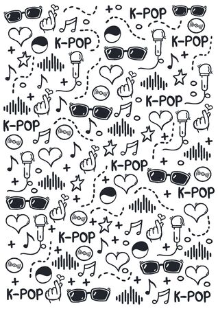 K Pop hand draw doodle background. Korean music style. 向量圖像