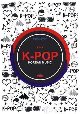 K Pop hand draw doodle background. Korean music style. Çizim
