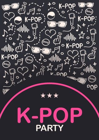 K Pop hand draw doodle background. Korean music style.  イラスト・ベクター素材