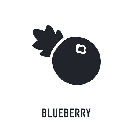 Blueberry icon on white background. Forest berry sign, healthy food