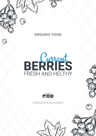 Berries banner with currants. Food design template with berry