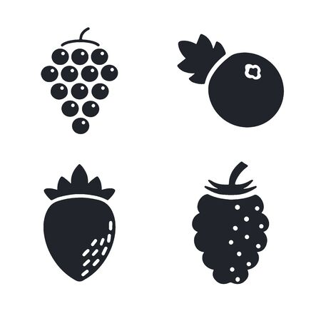 Berry icon on white background with grape, strawberry, raspberry and blueberry Illusztráció