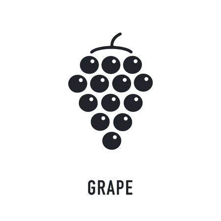 Grape icon on white background. Forest berry sign, healthy food
