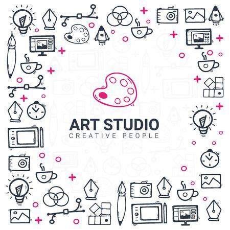 Art Studio. Background with doodle design elements 스톡 콘텐츠 - 132826003