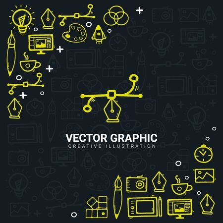 Vector Graphic. Background with doodle design elements