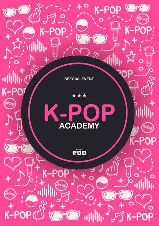 K Pop hand draw doodle background. Korean music style