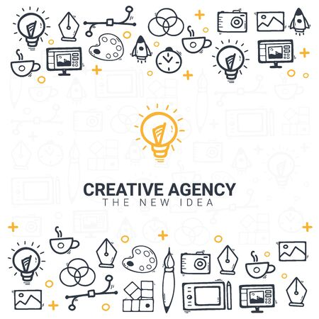 Creative Agency. Background with doodle design elements